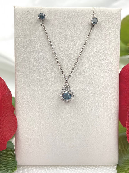 18K White Gold .25ct Blue Diamond with .09cttw Diamond halo Pendant and earring