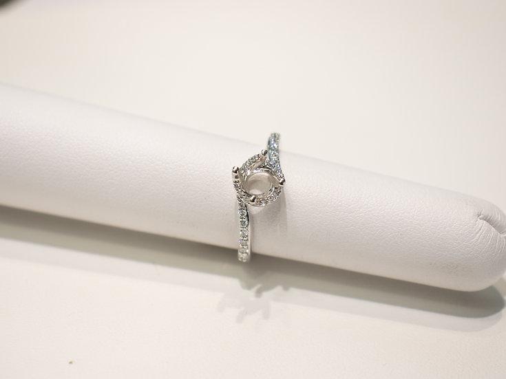 18K White Gold .020cttw  Round Brilliant Diamond Swirl Ring