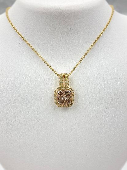 18k Yellow Gold Diamond Sunflower Necklace