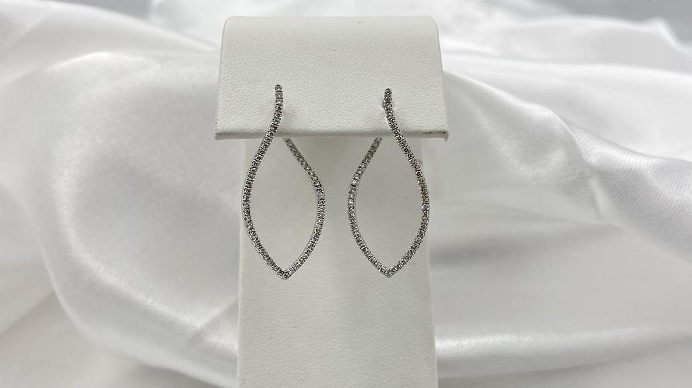 14K White Gold .50cttw Round Diamond Double Sided Teardrop Earrings
