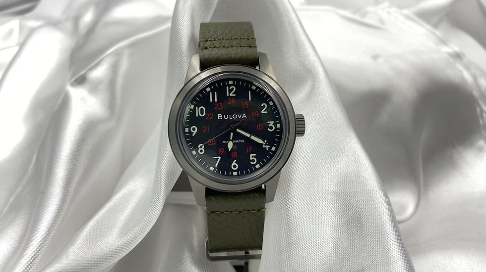 Bulova Mens Watch With Black face and Military Green Band