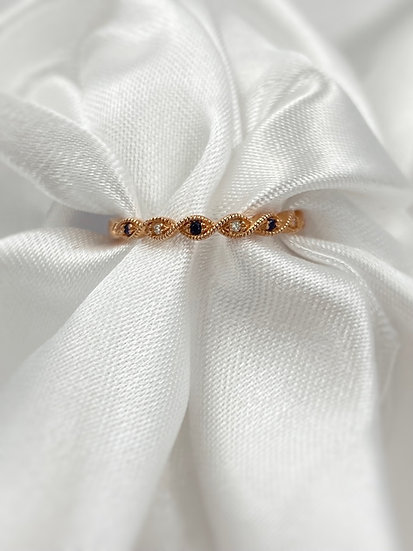 10K Rose Gold Sapphire and Diamond Stackable