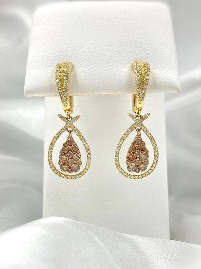 18k Yellow Gold Sunflower Diamond Dangle Earrings