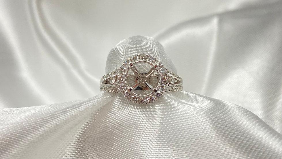 18K White Gold .62cttw Diamond Halo Semi Mount for 7.5mm Round Diamond