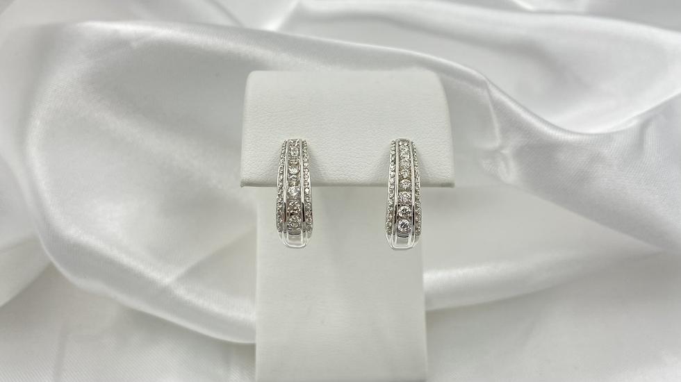10K White Gold 1.0cttw Round Diamond Channel Set Hoop Earrings