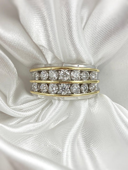 10k White and Yellow Gold 2.0ctw Diamond Gents Ring