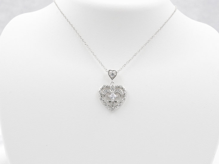 "Sterling Silver 18"" Cubic Zirconia Heart Pendant"