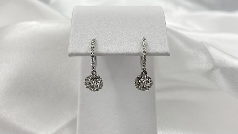 14K White Gold .50cttw Diamond Cluster Hoop Earrings