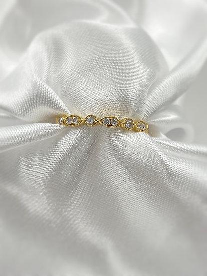 14K Yellow Gold .38cttw Diamond Infinity Stackable