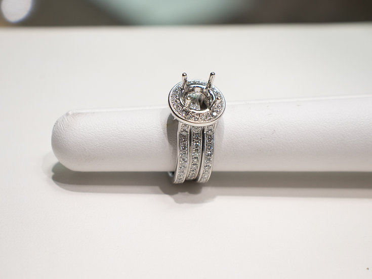 14K White Gold 1.72cttw with One Hundred and Nineteen Round Diamond Semi Mount