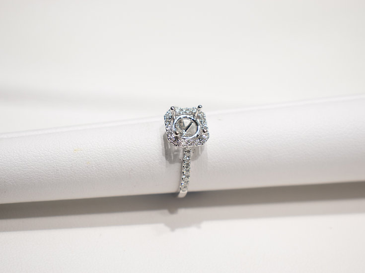 14K White Gold .35cttw Diamond Halo Engagement Ring