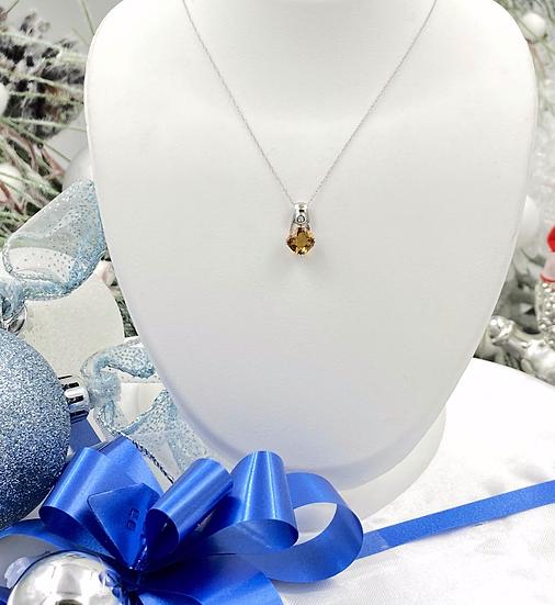 "14K White Gold Cushion Cut Citrine Diamond Pendant with 18"" Chain"
