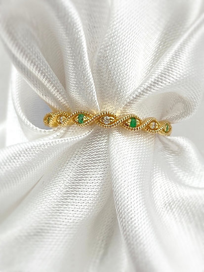 10K Yellow Gold Emerald and Diamond Stackable
