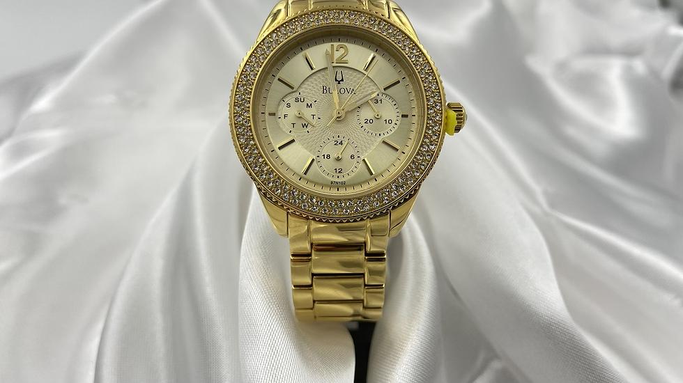 Bulova Women's Gold Diamond Bezel Watch