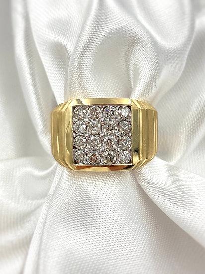 10k Yellow Gold 1.0ctw Diamond Gents Ring