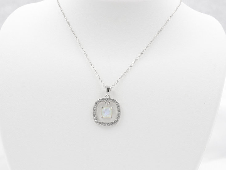 """Sterling Silver 18"""" Opal Necklace"""