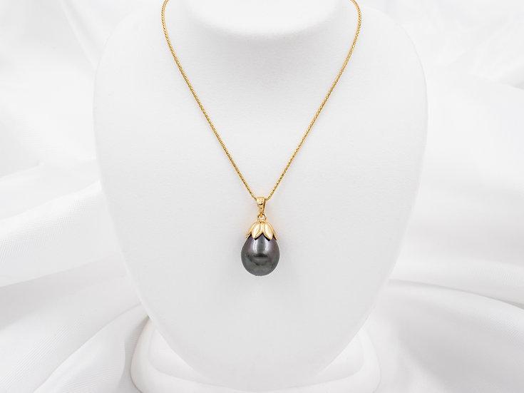 14K Yellow Gold Teardrop Black Fresh Water Pearl Pendant