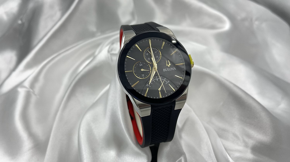 Bulova GTS Black and Gold Watch with Red Band