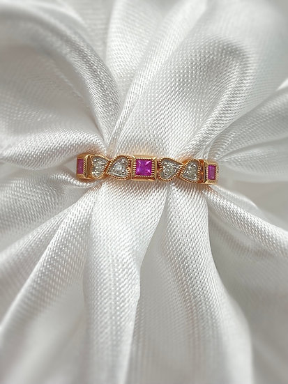10K Rose Gold Ruby and Diamond Stackable Band