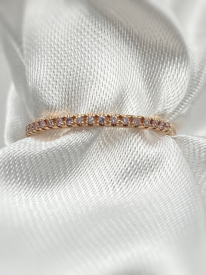 14K Rose Gold .09cttw pink diamonds stackable