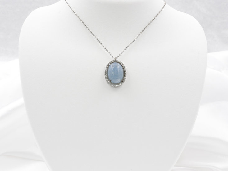 """Sterling Silver 17"""" Blue Agate Necklace"""