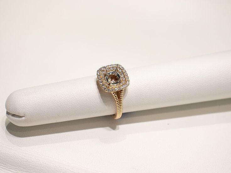 14K Rose Gold .41cttw Forty Four Round Diamond Sem Mount
