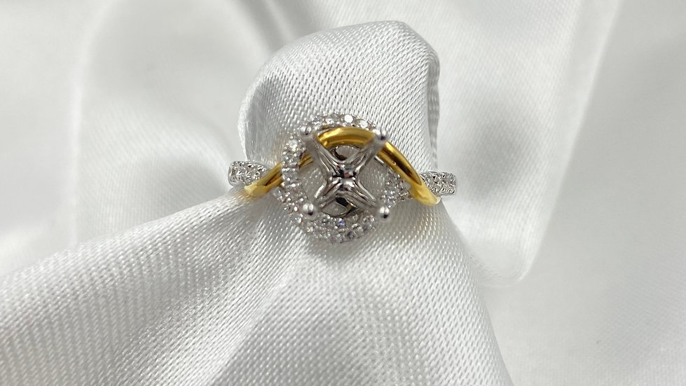 18K White and Yellow Gold .32cttw Round Diamond Swirl Engagement Ring