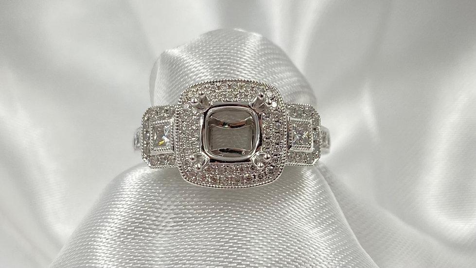 14K White Gold .57cttw Diamond Halo Semi Mounting