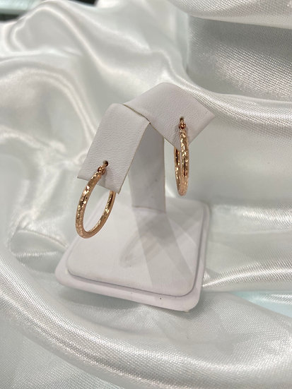 10K Rose Gold textured hoop earrings