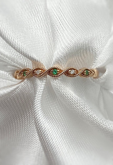10K Rose Gold Emerald and Diamond Stackable