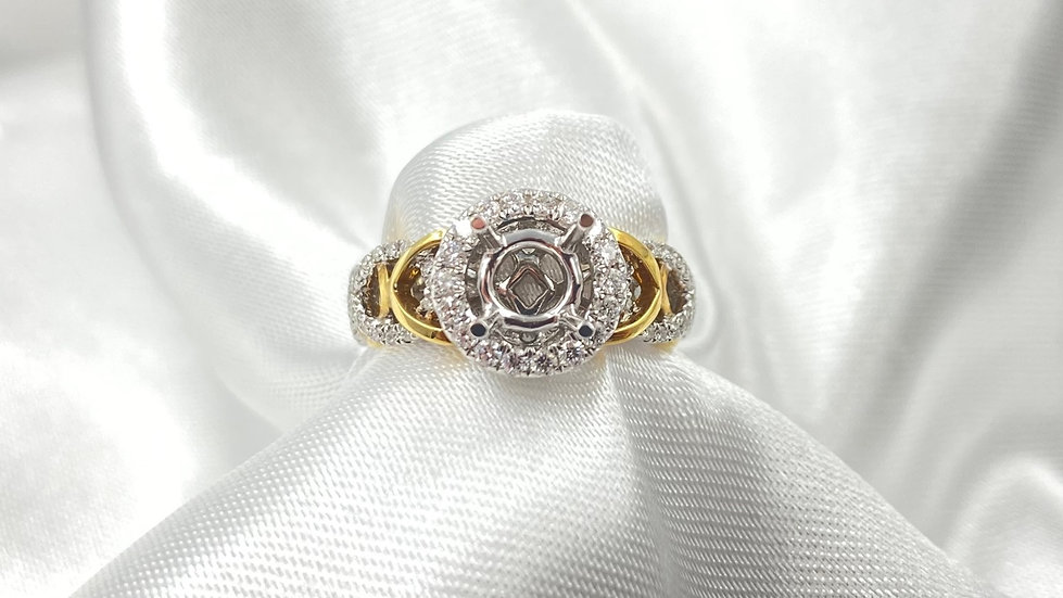 18K White and Yellow Gold .45cttw Round Diamond Halo Engagement Ring