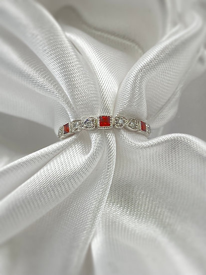 10K White Gold Diamond and Garnet Stackable