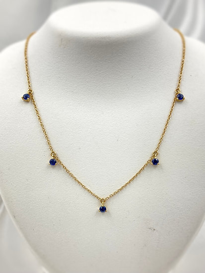 14k Yellow Gold Sapphire Dangle Necklace
