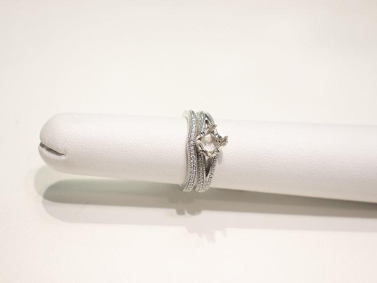18K White Gold 0.25cttw Round Brilliant Diamond Ring with Diamond band