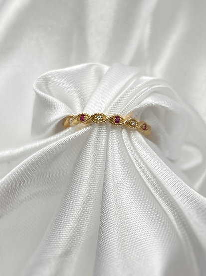 10K Yellow Gold Ruby and Diamond Stackable