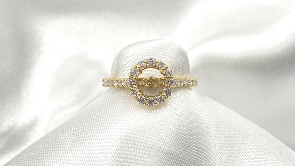 18K Yellow Gold .51cttw Round Diamond Halo Semi Mount