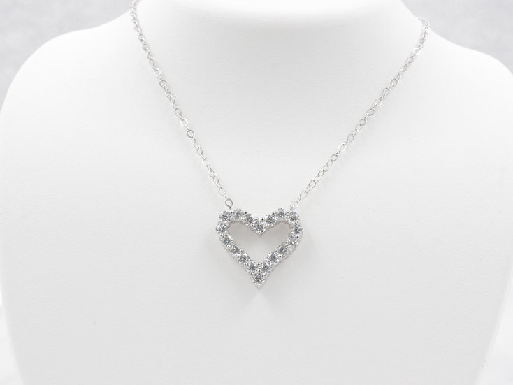 "Sterling Silver 18"" Cubic Zirconia Heart Pendant"