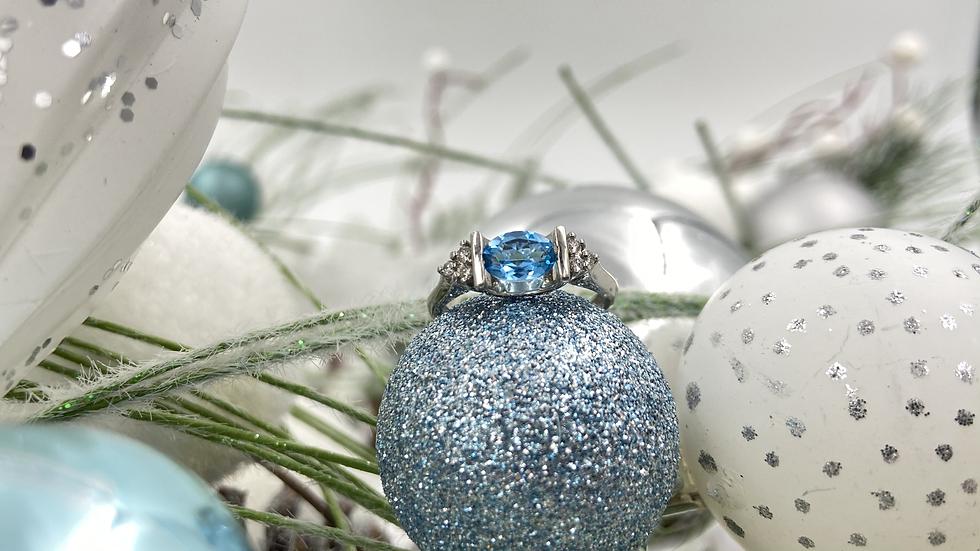 14K White Gold Blue Topaz Diamond Ring