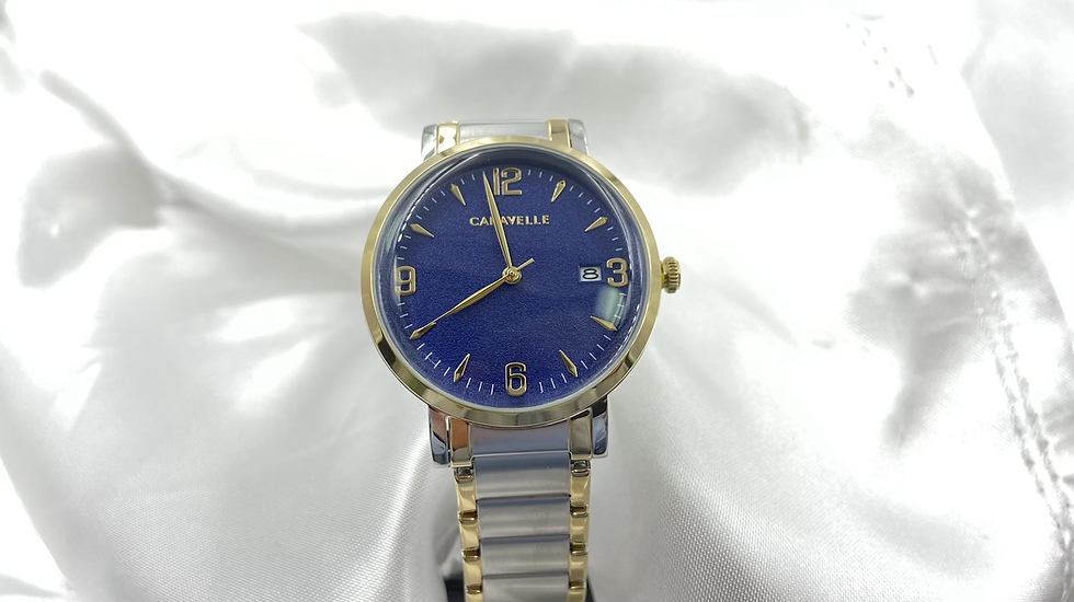 Caravelle Mens Blue And Yellow Face Watch