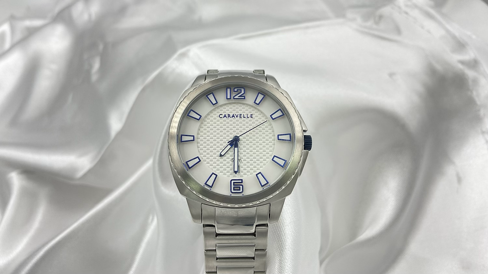 Caravelle Mens Blue and White Watch