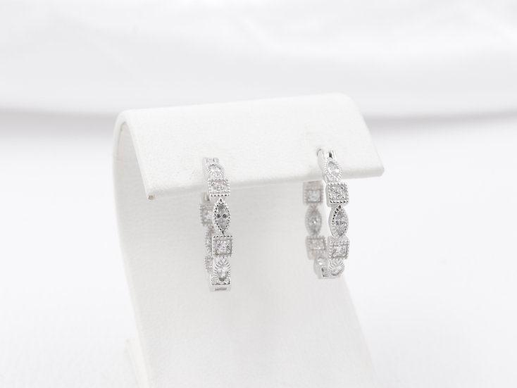 Sterling Silver Oval and Square Design Hoop Earrings
