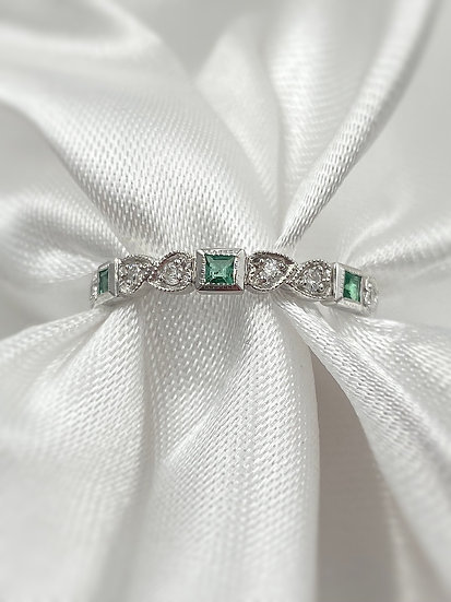 10K White Gold Emerald and Diamond Stackable