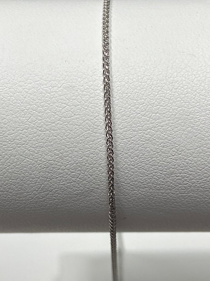 "14K White Gold 20"" .8mm Diamond Cut Adjustable Wheat Chain"