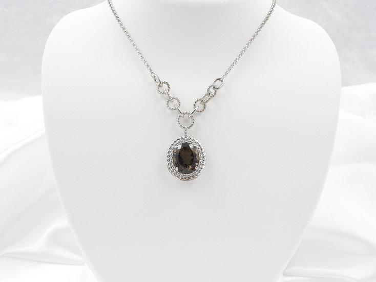 Sterling Silver Smokey Quartz 3.85ct with .02cttw halo
