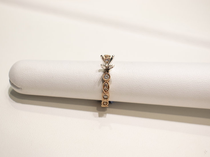14K Rose Gold 3/8ct Stack Semi Mount for 1/2ct Round Diamond