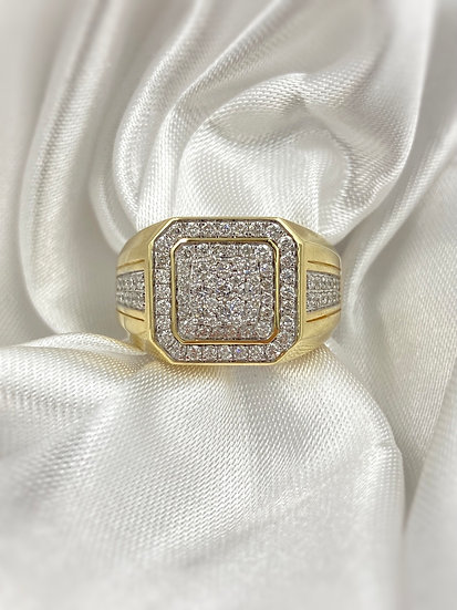 10k Yellow Gold 1.0ctw Diamond Gents Ring