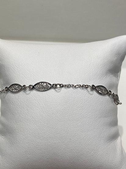"""14K White Gold 8"""" Oval Design Bracelet"""