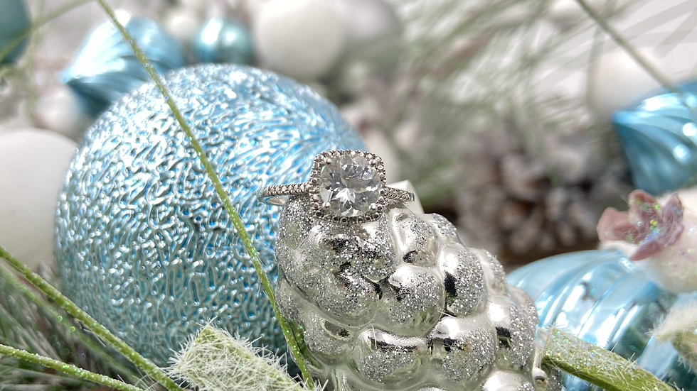Sterling Silver Aqua Diamond Ring
