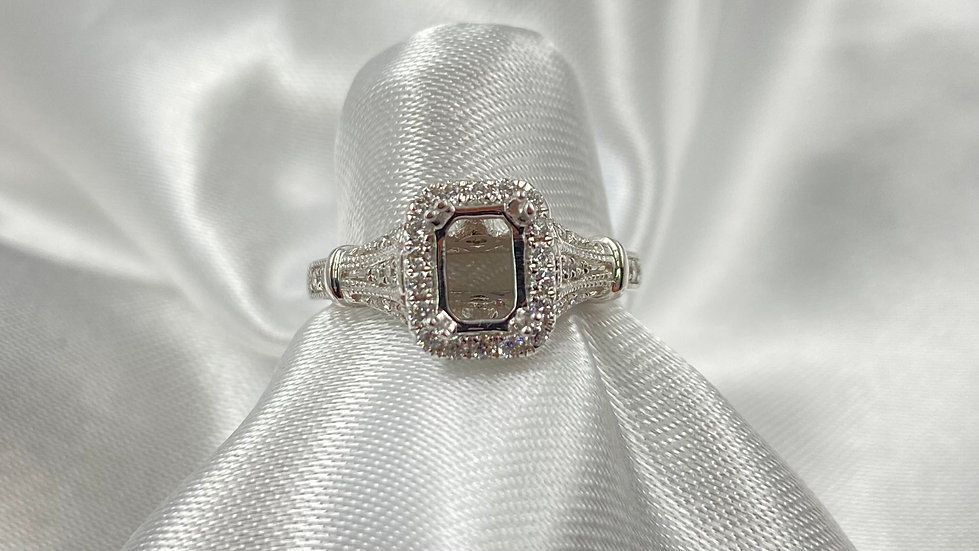 18K White Gold .31cttw Halo Mounting Center for 7x5mm Emerald Cut Diamond