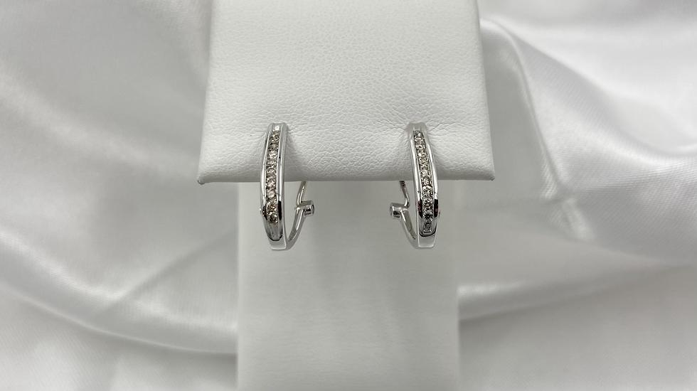 18K White Gold .25cttw Round Diamond Channel Set Omega Earrings